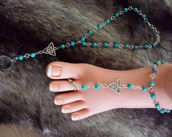 Sandalias Descalzas Belice algo azul boda joyería turquesa