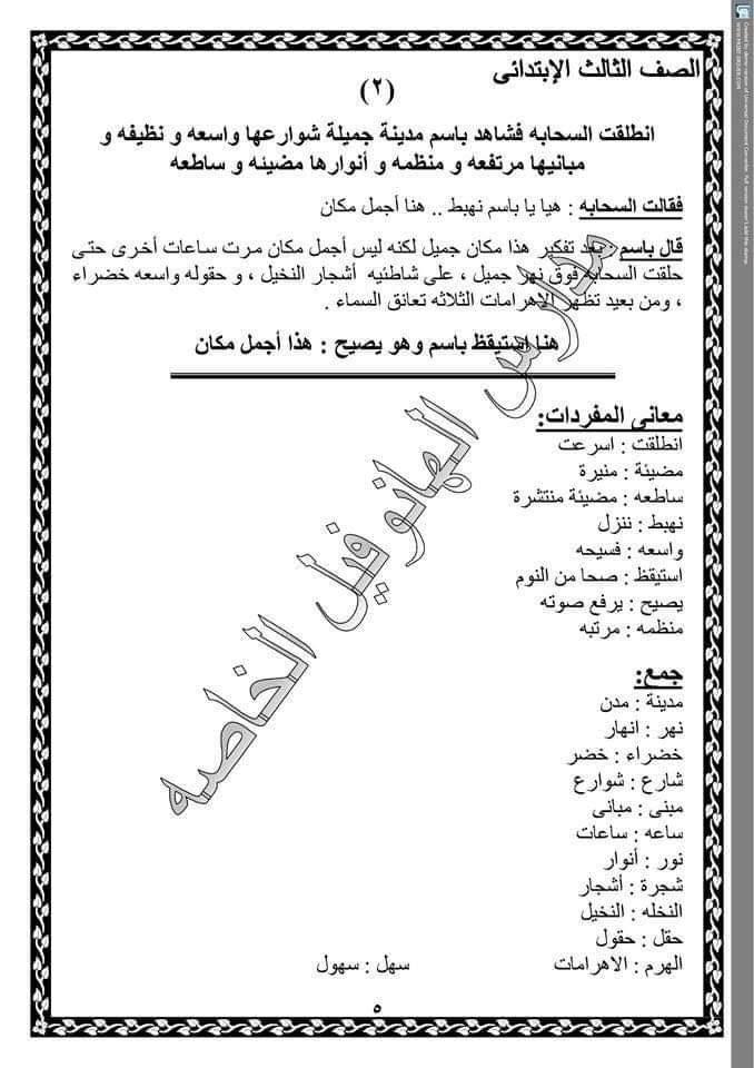 تجميع لكل شبكات مفردات منهج اللغة العربية للصف الثالث الابتدائى ترم اول Math Math Equations