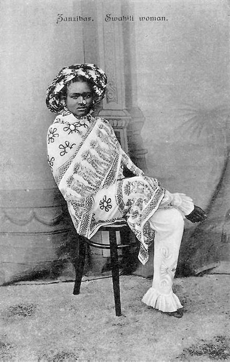 Africa | Swahili woman. Zanzibar. ca. 1900 - 1910. | Vintage postcard; photographers de Lord Brothers. No. 13