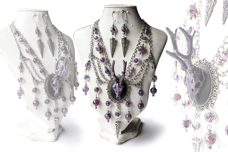 """""""The Deers Aren't What They Seem"""" - Unique Jewelry Set from Purple Octopus Jewellery. Gothic Steampunk Jewelry!"""