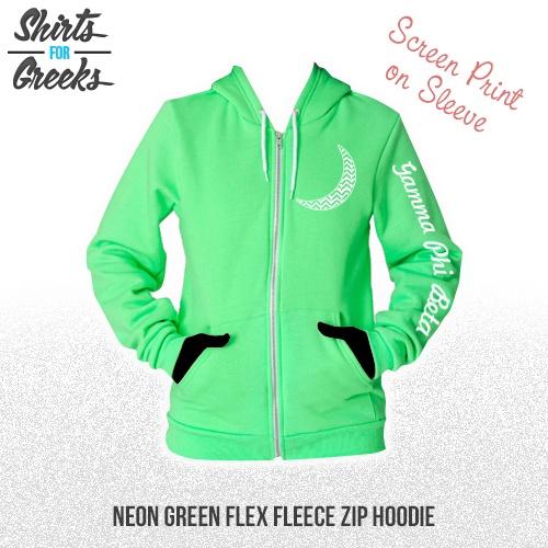 Shirts For Greeks - Gamma Phi Beta Neon Green Flex Fleece Zip Hoodie Sleeve Screen Print