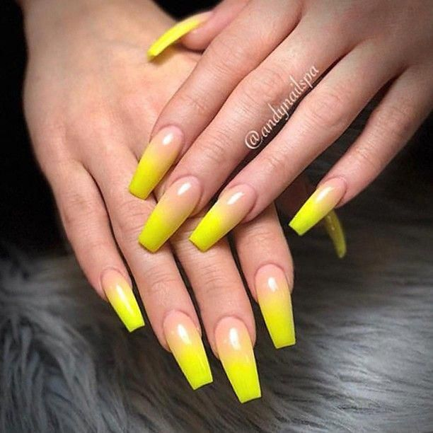 ✨ REPOST , , \u2022 , , Yellow Ombre on long Coffin Nails