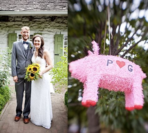 Georgia Meets California Wedding..pig Pinata! Love That!