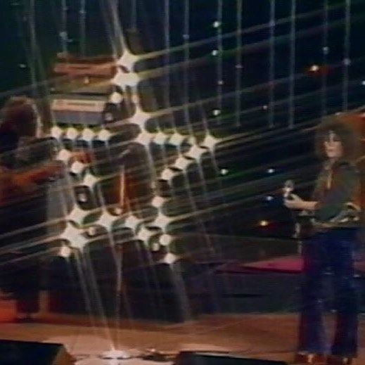 A Marc In Time...October 8th 1974  T.Rex perform a complete set for Don Kirshners Rock Concert (see our video section) only four songs were actually transmitted they were Jeepster Zip Gun Boogie Token Of My Love and Get It On.