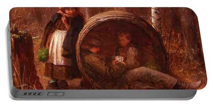 The Portable Battery Charger featuring the painting The Eavesdropper 1866 by Johnson Eastman