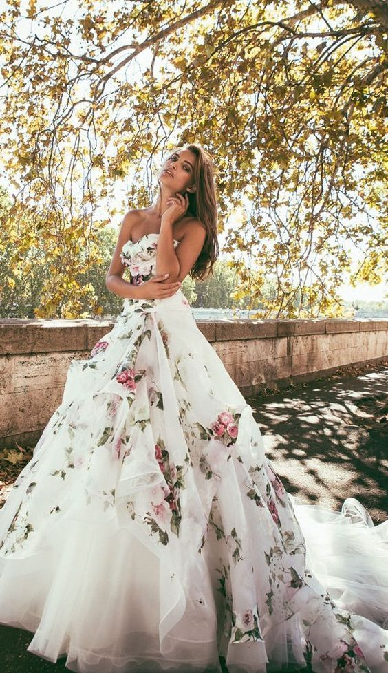 Alessandro Angelozzi Couture Floral Printed Wedding Dress / http://www.deerpearlflowers.com/floral-wedding-dresses/