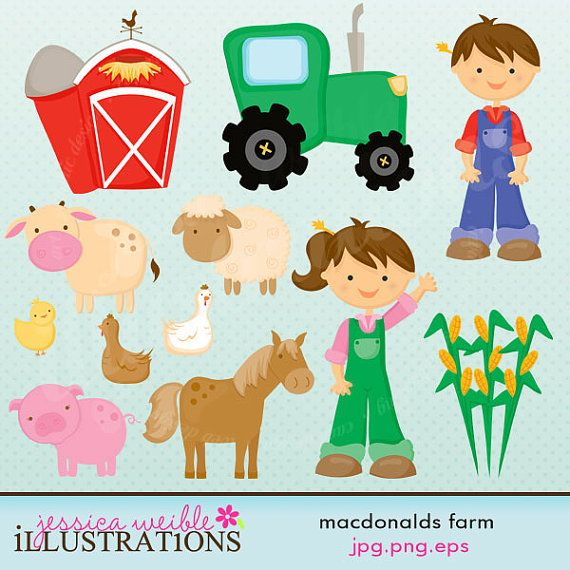 MacDonalds Farm Cute Digital Clipart for Card by JWIllustrations, $5.00
