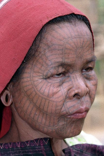 Laytoo Chin Woman with traditional facial tattoo, Myanmar