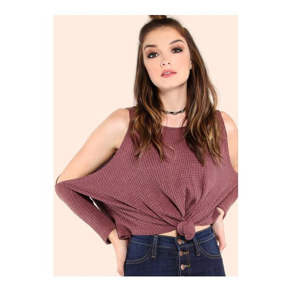 SheIn(sheinside) Purple Waffle Knit Open Shoulder Knot Front Batwing... ($14) ❤ liked on Polyvore featuring tops, t-shirts and purple