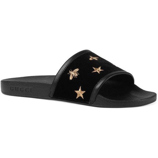 Gucci Pursuit Velvet Slides Sandals