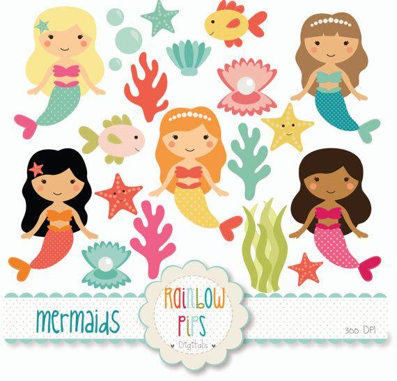 mermaid digital clipart set - Mermaid Pictures For Kids