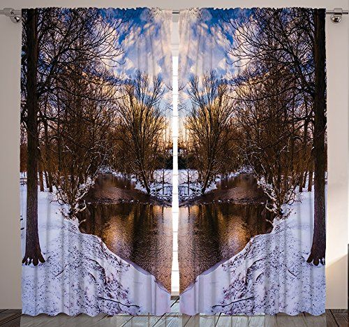Ambesonne Landscape Home Decor, Snowy Winter Park Trees Heart Shape Lake  Sunset View Picture,