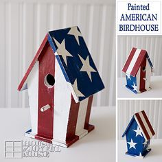 Tips on how to paint an American Birdhouse. Lots of photos.  4th of July, red,white and blue, julydecor, #birdhouses, #crafts http://houseofjoyfulnoise.com/painted-american-birdhouse-tutorial/