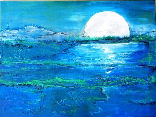 """Antoinette Luechinger  """"Full Moon 6"""" Kunst Landschaft: See/Meer Natur: Wasser Moderne expressiver Realismus Art Landscapes: Sea / Ocean Nature: Earth Modern Expressive Realism"""