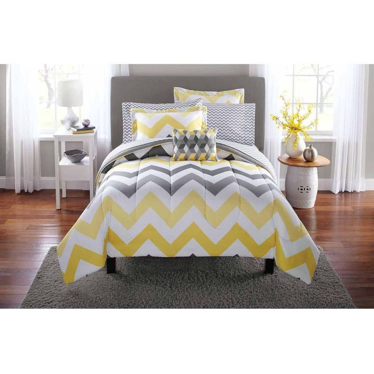 Full Bed In A Bag Comforter Set Sheets Sham Yellow Grey Chevron Bedding Home #Mainstays #Contemporary