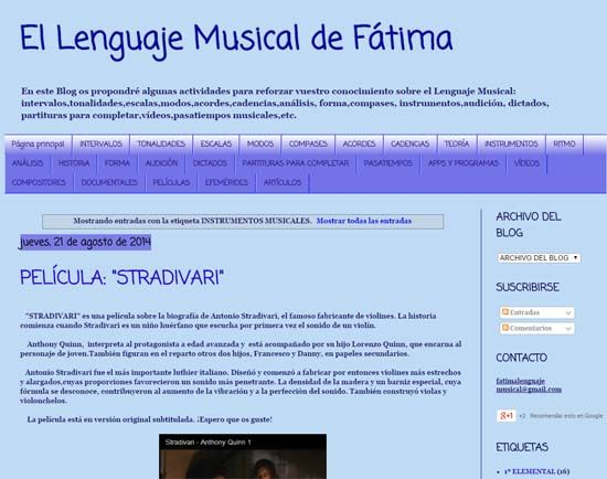 """El Lenguaje Musical de Fátima"" es un blog pensado para utilizar como refuerzo de la asignatura de Lenguaje Musical."