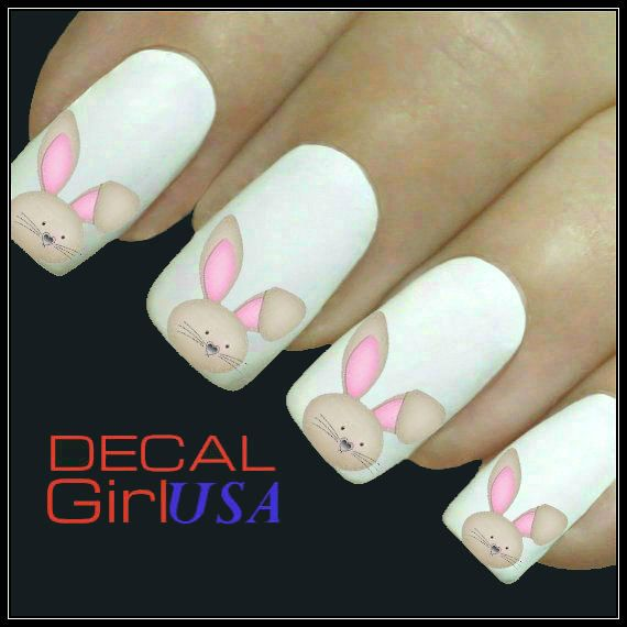 Easter Nail Art Decals 32 Easter Bunny Nail Decals on Etsy, $3.85