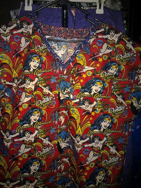 Custom Handmade Wonder Woman Scrubs.