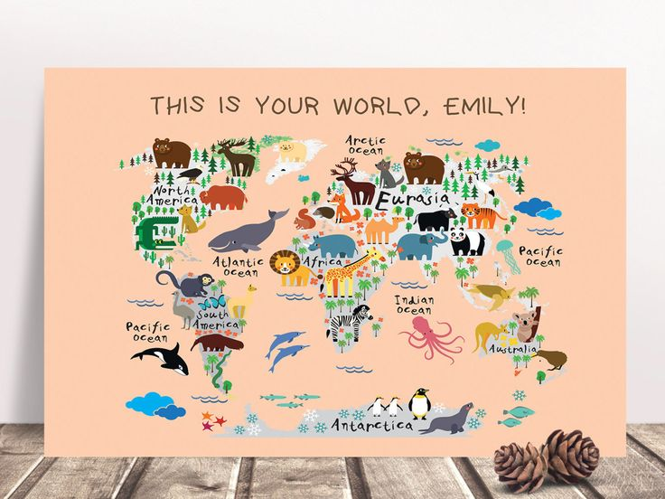 22 best world map images on pinterest world maps hong kong and children world map animals canvas custom background color kids bedroom nursery gumiabroncs Image collections