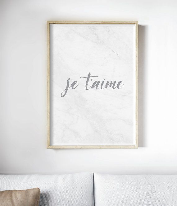 French Wall Art, Je Taime Print, Romantic Art Print. Art Prints for the walls of your home by Little Ink Empire