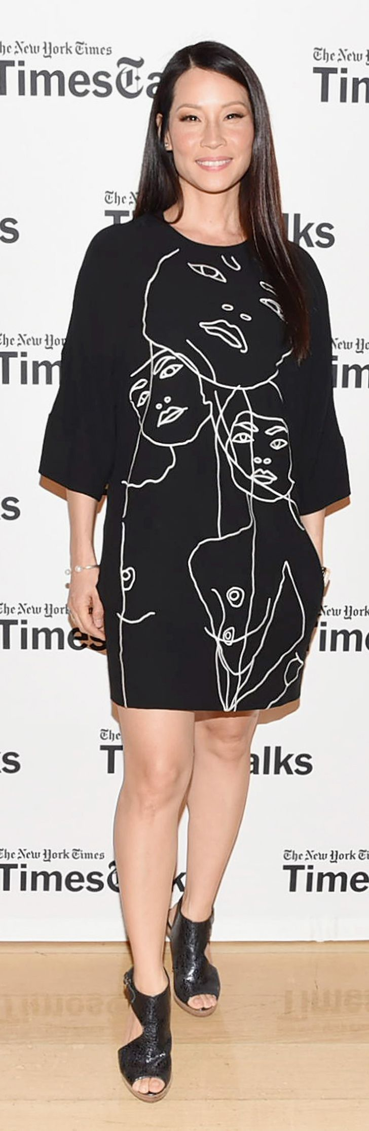 For the occasion of her TimesTalks, Lucy Liu went with a smart Stella McCartney shift.