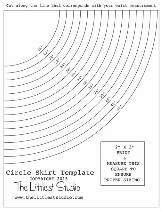 Circle Skirt waist template and instructions. no zipper! ha!