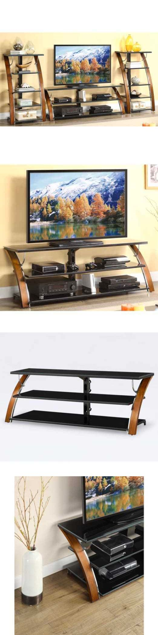 Entertainment Units TV Stands: Whalen Brown Cherry 3-Shelf Tabletop Console For Tvs Up To 70 -> BUY IT NOW ONLY: $132.78 on eBay!