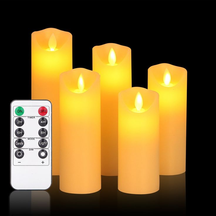 """Flameless Candles,LED Candles with Remote Set of 5""""6""""7""""8""""9"""" Flickering Battery Candles with Timer Real Wax Pillar,10-Key Control, Reusable ,for  Kitchen, Home Decoration (OShine ,Ivory,5)"""