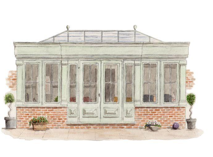brick low walls, no bifolds - but similar design, good classical proportions - Medium Orangery - £67k