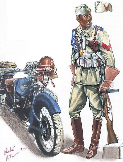 """PAI (Polizia Africa Italiana) - Motociclista,Guardia scelta, Libia, 1940-41"""""""