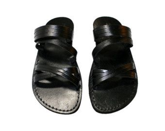 Black Gladiator Leather Sandals for Men & Women Triple por SANDALI
