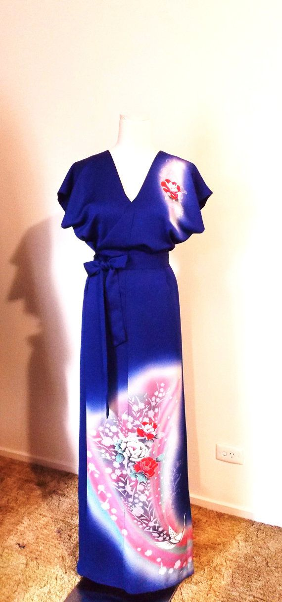 Stunning oriental blue wrap dress maxi made with vintage TSUKESAGE formal KIMONO.  Suitable for wedding guest, evening, prom or any special occasion.