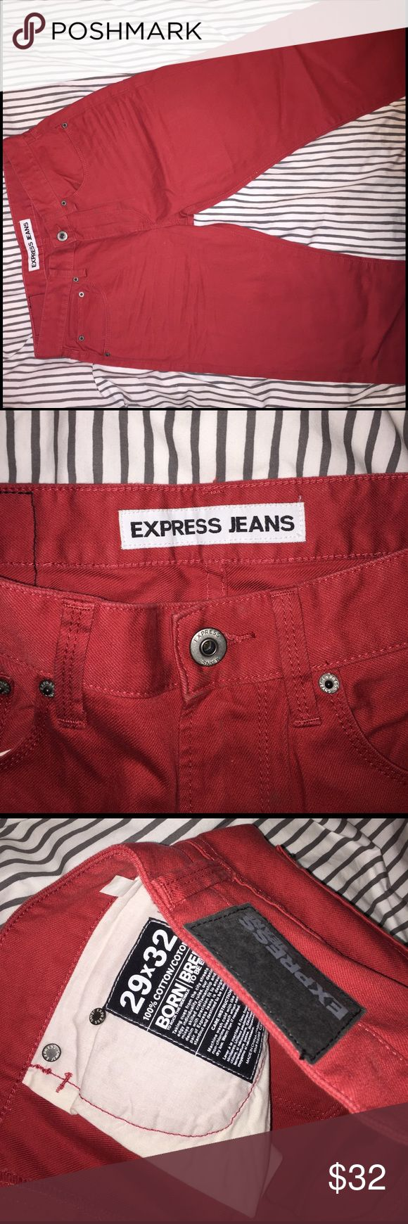 Express Man Jeans Great pair of red pants! Wanted these so bad and then never wore them! Express Pants Chinos & Khakis