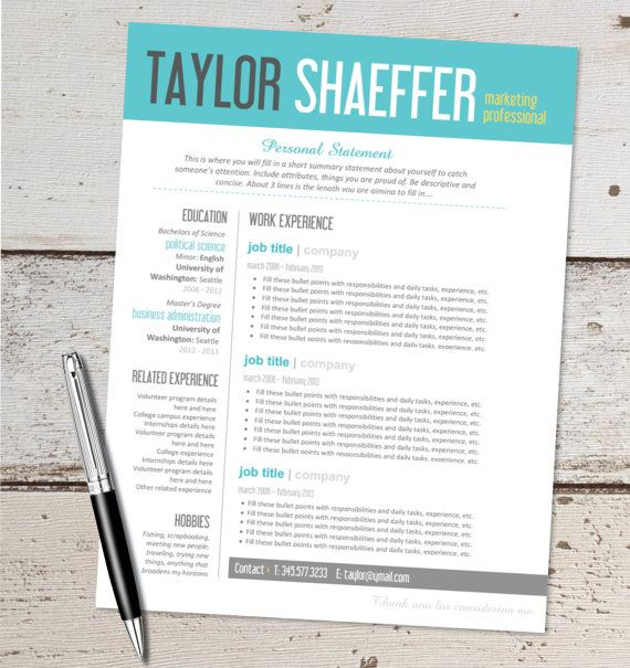 instant download resume design template microsoft word editable teal yellow aqua black gray resume designs pinterest - Words Resume Template