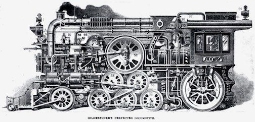 Gilderfluke's Perfected Locomotive – humorous illustration published in the December 1931 issue of Railway Gazette.
