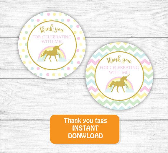 Printable Unicorn Thank you Tag Gold Rainbow Unicorn Thank