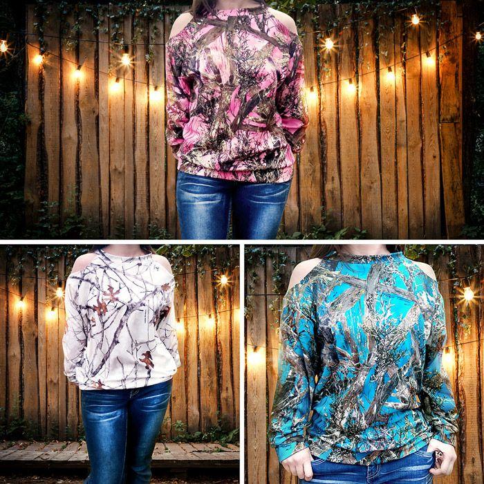 'Cold Shoulder' Women's Camo Sweatshirt
