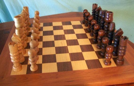 Hand-made walnut, maple, and cherry chess board and set by Edward Guerrette