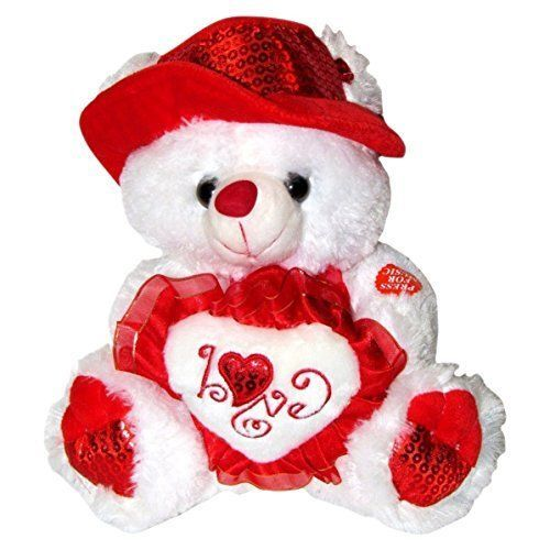 Valentines Day Gift Teddy Bear Soft Stuffed Animal Love Song For Her White New #TeddyBear