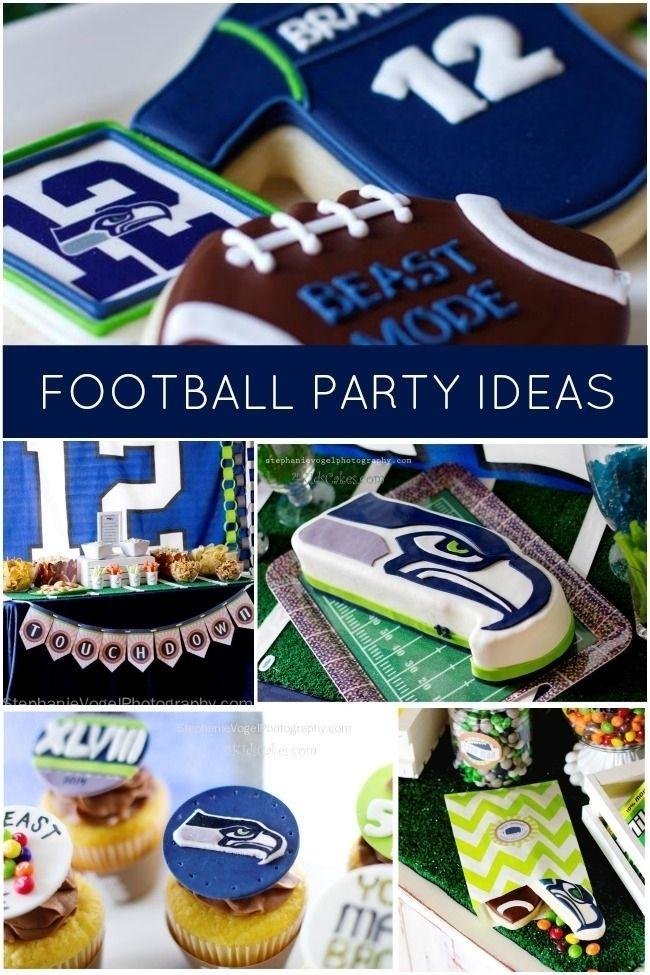 Seahawk boy's football birthday party www.spaceshipsandlaserbeams.com