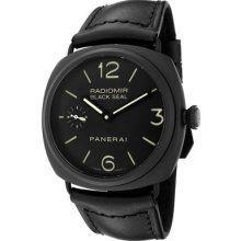 Panerai Radiomir Black Seal Black Dial Black Leather Mens Watch PAM00292