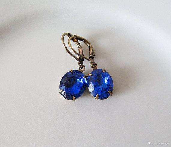 Sapphire Rhinestone Earrings  Blue Elegant Vintage Glass
