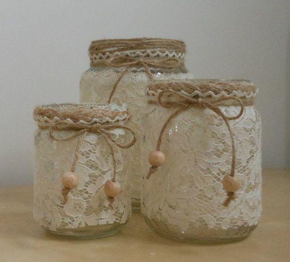 Riciclo Creativo - Porta candele, porta penne e vaso da fiori realizzati con barattoli da riciclo decorati a mano
