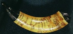 Powder horn incised with map of Hudson and Mohawk river valleys (ca. 1757). Library of Congress.