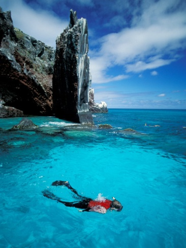 Snorkeler at Isla Tortuga in the Galapagos Islands.  Photographic print by Jack Stein Grove   #ecuador #galapagos