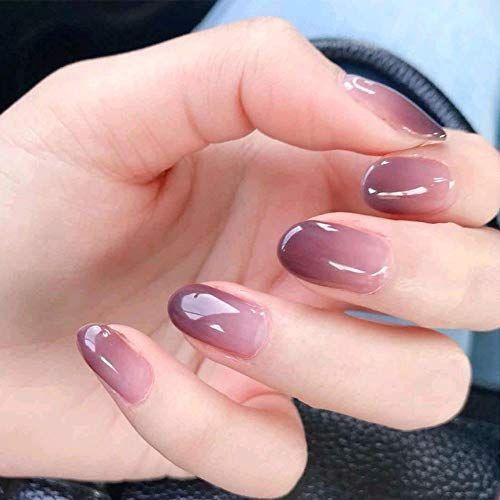 NEUE Stil gefälschte Nägel, lila Farbverlauf kurze Nail Art runden Kopf … – Nagel Designs
