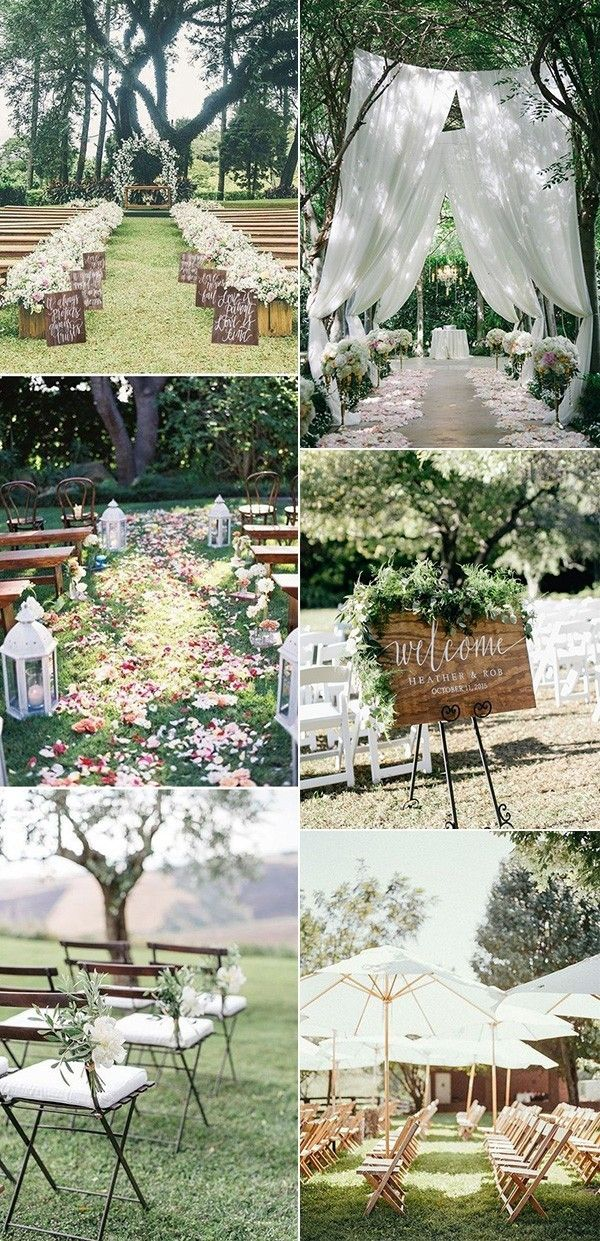 trending outdoor wedding ceremony decoration ideas #weddingideas #weddingdecor #outdoorwedding #backyardwedding #gardenwedding