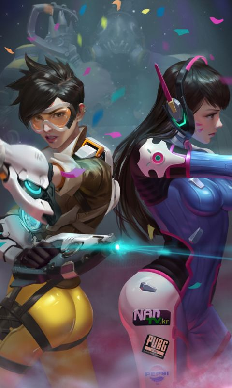 Tracer And Dva Art Overwatch 480x800 Wallpaper Video Game