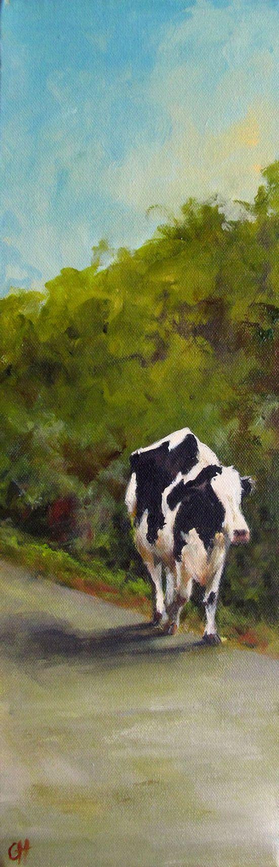 Peinture - Nowhere Fast - impression d'une peinture originale sur toile 6 x 18 - la vache