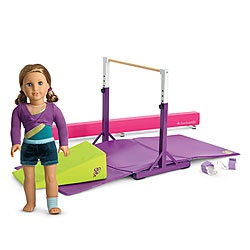 AG doll Gymnastics equipment and two mix and mach practice outfits.